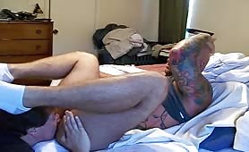 Muscle straight man likes his dick drained