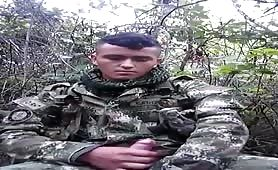 tricked latin soldier masturbating in the woods