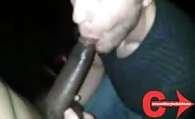 Straight dude blowing a huge black cock for the first time