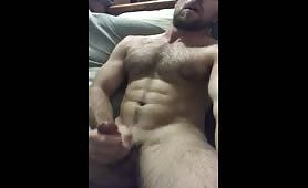 Straight furry stud blows a load
