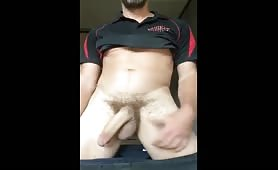 Bearded str8 white hung jerking his fat white cock