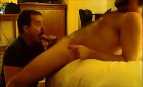 Married hairy dude enjoying an intense blowjob from his gay friend