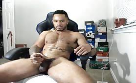 Hot muscular black guy shoot a big load