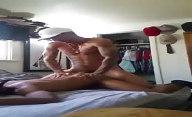 Hot athletic married daddy busting a nut