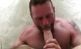 Straight muscle married daddy eats my cum load
