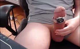 Cute dude stroking his delicius cock
