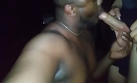 Sucking and eating a str8 white cock cum