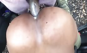 Str8 thug with a huge beefy cock creaming my ass in the woods