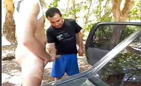 Sucking a married coworker in a work reunion outdoors