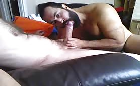 Huge str8 married bear struggling with a big fat cock