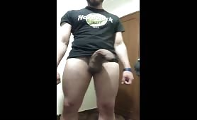Dude showing off his long elephant cock