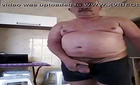 Chubby mature dad showing his uncut cock on cam