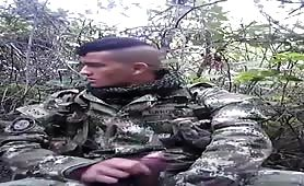 Horny str8 colombian soldier masturbating in the bushes
