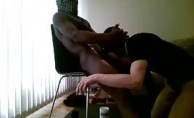 Masked white guy sucking a huge str8 black dude