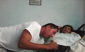 Horny latino having fun with his str8 roommate