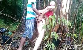 Young straight latino fucking with a horny old man in the bush for money