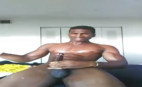 Black stud fucking the cum out of a fleshlight