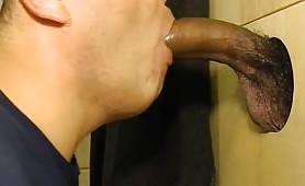 Young straight black guy enjoying a glory hole