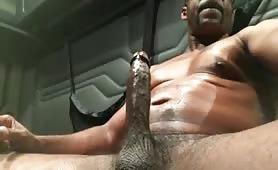 Huge black daddy stroking his huge piece of meat
