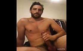 Handsome str8 dude stroking his tasty cock