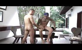 Straight tattooed horny latino fucking his handsome gay neighbor