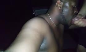 Horny gay nigga sucking a stranger white tasty cock outdoor