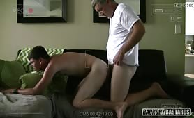 Mature guy barebacks a straight twink with tight hole for cash