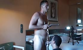 Servicing a hung str8 french dude