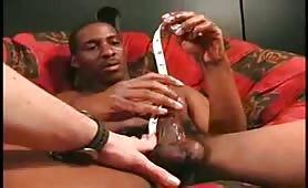 Straight bushy black thug having fun with his tasty beefy cock