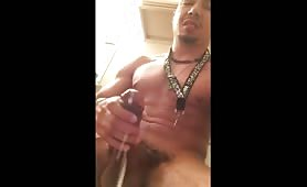 Nice cumshot from a horny latino guy