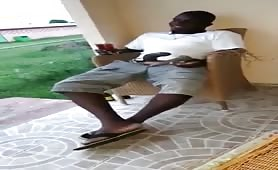 African dude showing off his big black dick
