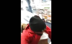Thug fucking a black trans in the store
