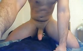 Horny guy teaching his ass and masturbating in front of the web camera