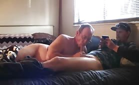 married grandpa brings a male to suck his cock in his wife's bed